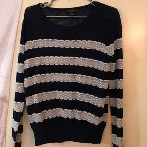 Netted navy sweater with lace stripes